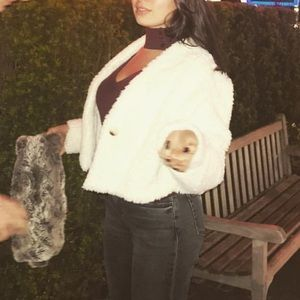 White shearling fur jacket